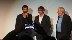 """Kai Schumann (Schauspieler)(l), Gerd Schneider (Autor und Regie)(m), Film """"Verfehlung"""", Empfänger des Ludwigshafener Drehbuchpreis 2015"""